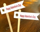 Valentine Flags Cupcake Toppers