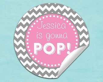 baby shower popcorn box labels (No.R10p2) girl pink gray chevron pop stickers, baby shower labels gonna pop