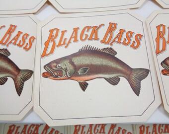 Set of Black Bass Paper Coasters