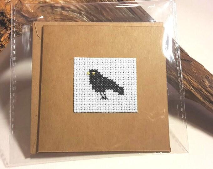 Blackbird Cross Stitch Greetings Card