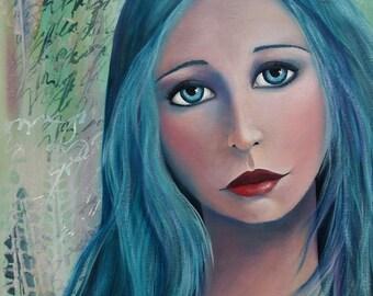 Original Mixed Media Fantasy Girl Painting By Sujati Art Studio