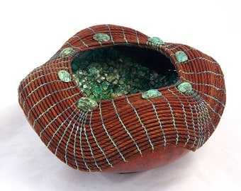 Brown Gourd Bowl with Turquoise Egg Shell Mosaic -Item 769 by Susan  Ashley