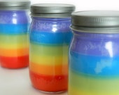 Rainbow Candle / Six Layer Soy Candle / Handpoured Candle in a Mason Jar / Colorful Candle
