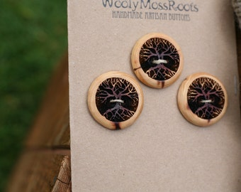 3 Wood Tree Buttons- Red Cedar Wood- Wooden Buttons- Eco Craft Supplies, Eco Knitting Supplies, Eco Sewing Supplies