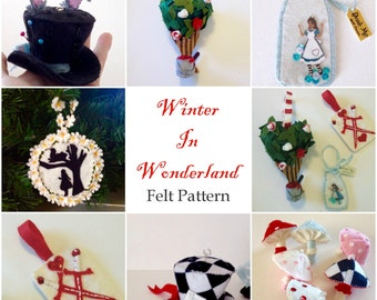 Winter in Wonderland felt ornament and mobile pattern Alice in Wonderland