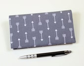 Modern Checkbook Cover for Duplicate Checks with Pen Holder, Arrows on Gray Cotton Fabric, Optional Scotchgard