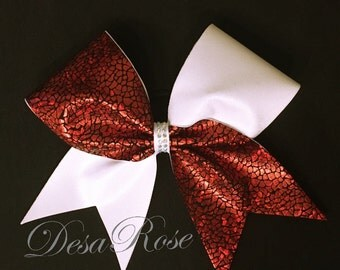 Red and White Tick Tock Bow with Rhinestone Center