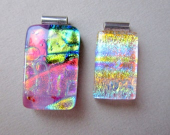 Two Fused Glass Pendants, Sterling Silver Bail
