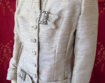 1950s Lilli Ann San Francisco Fitted Jacket Rhinestone Buckles Gorgeous Fabric 44 Bust