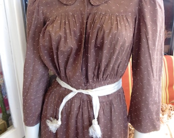 1900s Antique Silk & Cotton Country Day Dress Sprigged Brown Home Frock 36 Bust
