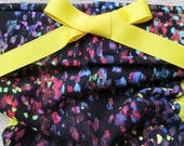 NEW Dog Diapers Britches or Panties Ultra Soft Black Bright Blotch Corduroy with Yellow Ribbon