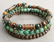 Mens Memory Wire Bracelet, Bloodstone, Tiger Eye, Green and Brown, Wrap Around, Gemstone Jewelry for Men, Guys, Him