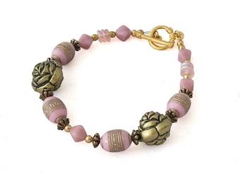 Rose Bracelet - Pink Beaded Bracelet - Flower Bracelet - Floral Bracelet for Her - Womens Bracelet - Gifts for Her - Gifts Under 20