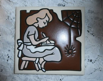 Mosatc   Tile Nursery Rhyme Little Miss Muffet Arts & Crafts Pottery Made in U.S.A.