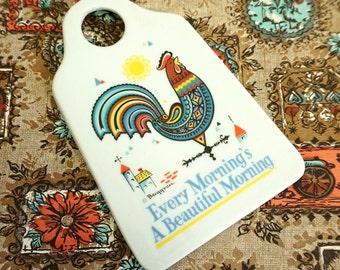 Vintage Berggren Porcelain Grater Like-New / Every Morning's A Beautiful Morning, Rooster Image / Folk Swedish Kitchen Decor