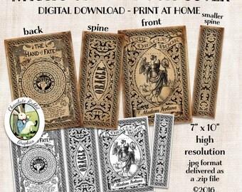 Fortune Teller Spell Book Halloween Cover Digital Download Vintage Style Printable Art Graphics Clip Art Scrapbook Journal Tag Image Sheet
