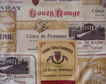 "Vintage Wine Labels print ""Vin du jour"" by 3Sisters for Moda Cotton Fabric, 1 Yard"