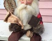 WOODLAND SANTA HANDMADE by The Enchanted Collection, Snowshoes, Fur, Birdhouse, Ranch,Cabin Christmas Buffalo Check at A Vintage Revolution