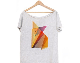 Funny Slouchy Shirt Off The Shoulder Fox Origami Grey Oversize Tshirt