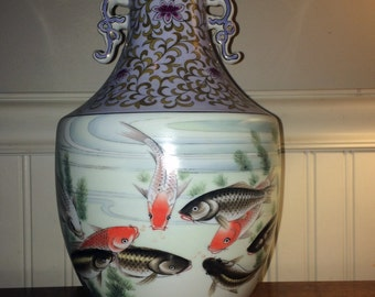 Hand Painted Vintage/ Antique Asian Vase