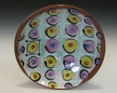 Shallow bowl with circles olive design checkered green purple open dish plate type dish