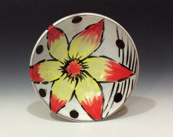 yellow red flower bowl with feet black dots and stripes great for dips or salsa or snacks or nuts