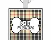 Dog Bone with Plaid Personalized Dog ID Pet Tag Custom Pet Tag You Choose Tag Size & Colors