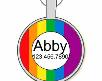 Rainbow Personalized Dog ID Pet Tag Custom Pet Tag You Choose Tag Size & Colors