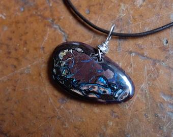 Unisex Boulder opal jewelry - handmade in Australia - wear able art - oval stone pendant necklace