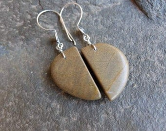 River stone Earrings - natural stone jewelry for lovers of spirals / simple earrings in earth tomes