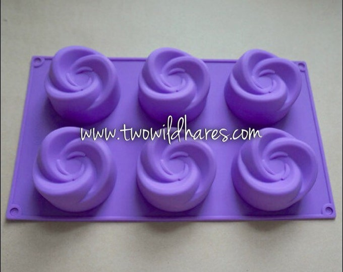 Whirligig Soap Mold, Silicone, 6- 4oz cavities