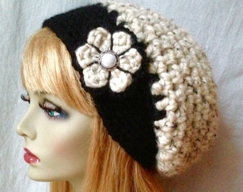 READY TO SHIP Size Med Oatmeal Crochet Beret Womens Hat, Slouchy, Wool, Holidays Christmas gifts under 50 JE808SBTF1