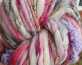 Art YARN BIG 6 oz 79 yards skein. Handspun homespun handmade skein. Ooak pink, gray, white for valentine's day plied so soft