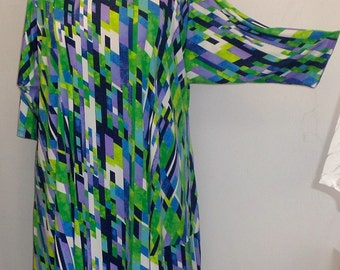 Plus Size Tunic Coco and Juan Plus Size Asymmetric Tunic Blue Skyline Print Knit Size 2 (fits 3X,4X)   Bust 60 inches