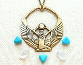 Isis necklace golden egyptian goddess pendant egyptian jewelry pagan jewelry goddess necklace