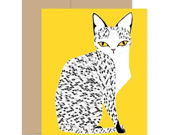 Yellow Mau Cat Card, Yellow Cat Card, Cat Lover Card, Feline Card, Animal Lover Card, Just Because Card, Happy Mail Card, Meow Card