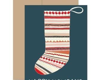 Christmas Stocking Cards, Christmas Stationery, Xmas Greetings, Happy Holidays Cards, Stocking Greeting Cards, Xmas Novelty Cards