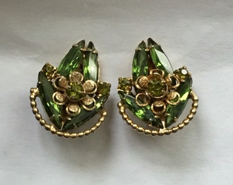 Vintage Weiss NY Green Rhinestone Earrings