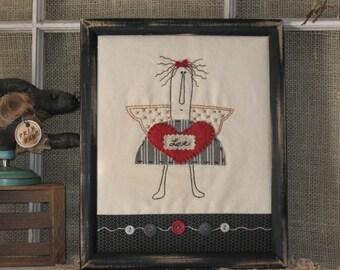 Folk Angel Primitive Stitchery Valentine's Day Gift