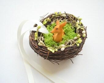 Fawn Deer Weddings Ring Bearer Pillow Nest, Nature Woodland Rustic Outdoor Weddings Ring Bearer, Love Nest, Cake Topper Decor, Brown Green