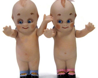 "Cupie/kewpie 4"" full porcelain dolls with movable arms cast from a vintage mold"