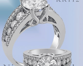 9mm round  cut MOISSANITE & diamonds ANTIQUE style engagement ring 14K white gold