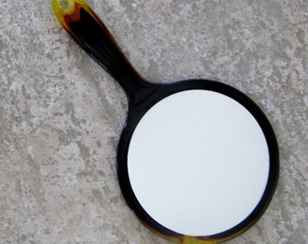 Vintage Mirror Faux Tortoise Shell Style Hand Held Table Mirror