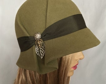 Amelia, Fur Felt Cloche millinery hat from the Downton Abbey era, khaki green color