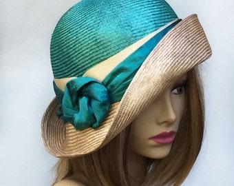 "Kentucky Derby, ""Fiona"", womens straw hat from the Downton Abbey era, silk dupioni sash, Millinery straw hat,"