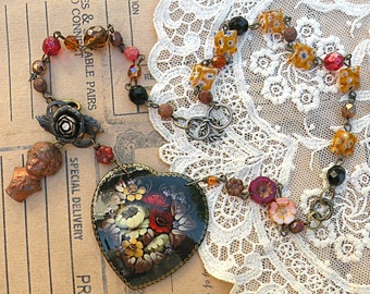 mommas boy necklace assemblage russian lacquer floral heart mothers day upcycled vintage pin czech flowers