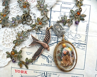 dried fall pendant assemblage necklace upcycle pin floral ooak