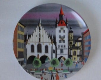 Vintage  Blocking Neudenau Munchen Decorative Plate. Bockling Glas. Barbara Furstenhofer. West Germany