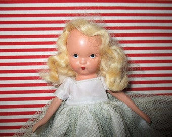 "Nancy Ann Storybook Doll, FREE SHIPPING, Bisque, Frozen Leg, Blonde Hair. Blue Eyes, Original Outfit, 5 1/2""h"