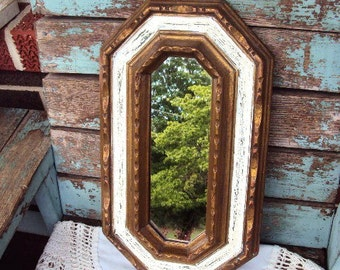 Vintage Shabby Chic Mirror Italian Florentine Baroque Ornate Wood Frame French Country Accent Mirror Distressed Chippy Antique off White